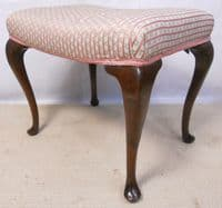 Queen Anne Style Mahogany Stool with Upholstered Seat